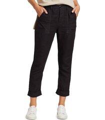 frame women's le beau linen pants - washed noir - size s