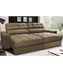 sofã¡ retrã¡til e reclinã¡vel com molas ensacadas cama inbox master 2,32m tecido suede castor - incolor - dafiti
