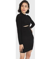 vestido missguided high neck cutout ruched side mini dress  negro - calce ajustado