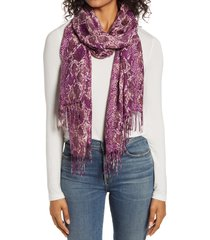 women's nordstrom tissue print wool & cashmere wrap scarf, size one size - pink