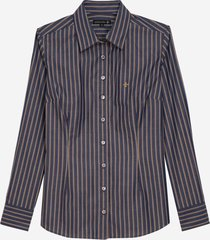 camisa dudalina manga longa fio tinto estampada feminina (listrado, 56)