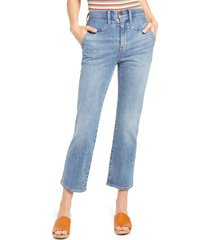 women's madewell high waist western yoke slim demi bootcut jeans, size 30 - blue