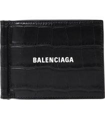 balenciaga black croc wallet