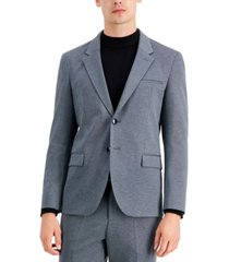 hugo men's modern-fit silver micro-check suit jacket