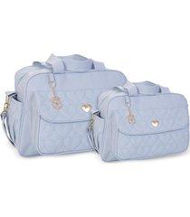 kit bolsas bebê maternidade azul claro amour 2 peças griff - tricae