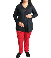 pijama linda gestante panda inverno amamentação e pós parto com botões feminino - feminino