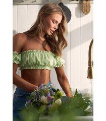 curated styles veckad off-shoulder-bikinitopp - green