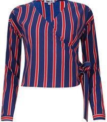 blusa a rayas cruzada en frente color azul, talla 10
