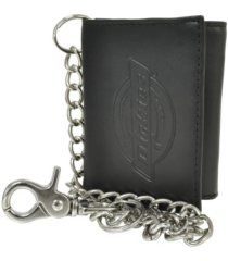 dickies security leather trifold men's wallet with chains