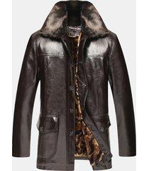 giacche in pelle pu medio-lungo monopetto da uomo casual invernale