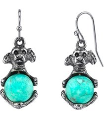 2028 pewter round semi precious how lite dyed turquoise puppy dog wire earrings