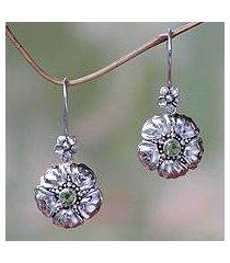 peridot flower earrings, 'hibiscus' (indonesia)