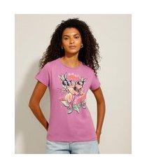 """camiseta de algodão açaí com guaraná"""" manga curta decote redondo roxa"""""""