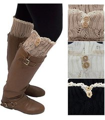 women's leg warmers lace trim boot socks button knit knee high crochet new lot