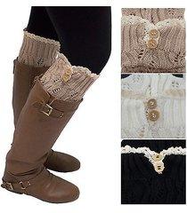women's leg warmers lace trim boot socks button knit knee high crochet new lot