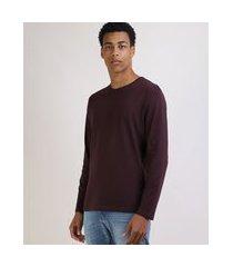 camiseta masculina básica comfort manga longa gola careca vinho