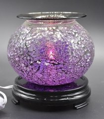 light purple crackle glass oil/tart warmer - use with scentsy wax