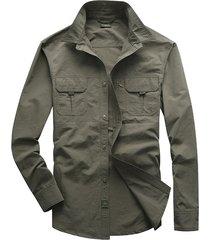 camicia da uomo manica corta da lavoro a maniche lunghe con doppio petto a maniche lunghe casual tinta unita