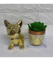 enfeite decorativo cachorro bulldog e vaso dourado com pã© de metal - dourado - feminino - dafiti