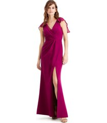 adrianna papell petite flutter-sleeve gown