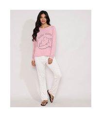 pijama feminino manga longa ursinho pooh com estampa quadriculada rosa