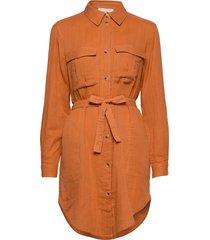 angelie ls shirt knälång klänning orange soft rebels