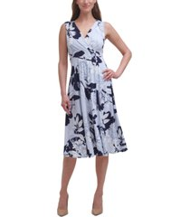 vince camuto floral-print fit & flare midi dress