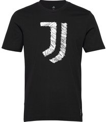juventus tee t-shirts short-sleeved svart adidas performance