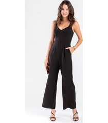 deonne wide leg jumpsuit - black