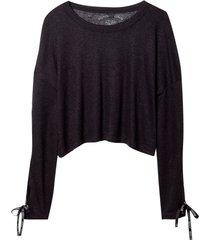 blusa john john mistic malha linho preto feminina (preto, gg)