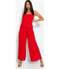 plisse strappy jumpsuit, red