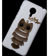 3d cute retro metal owl branch hard back skin shell case cover for meizu mx5