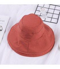 plegable de algodón sombrero para el sol para las mujeres de verano de ala