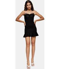 black ponte organza frill mini dress - black