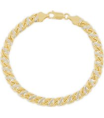 14k two-tone gold fancy mariner link bracelet/6.9mm