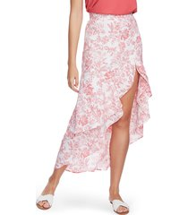 women's 1.state porcelain floral print high/low maxi skirt, size 10 - white
