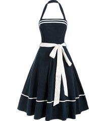 halter belted a line backless retro sailor dress