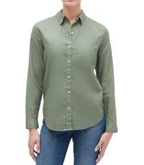 blusa lino blend verde gap