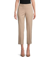 eileen fisher women's stretch-organic cotton cropped pants - brown - size 18