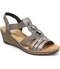 62459-00 sandalette med klack espadrilles grå rieker