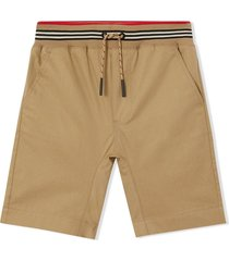 burberry honey brown cotton twill shorts