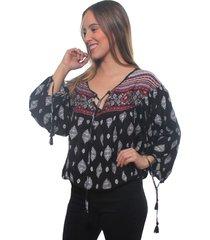 blusas pañuelo marroqui borlas negro bunnys