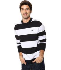 sweater blanco calvin klein ckj stripes cotton sweater