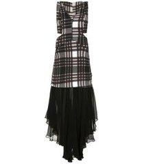 vestido aloha xadrez maxi preto - ruby/preto