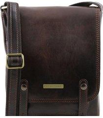 tuscany leather tl141406 roby - borsello da uomo in pelle con fibbie testa di moro