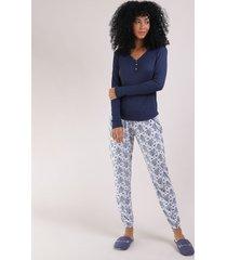 pijama feminino blusa longa e decote v azul marinho