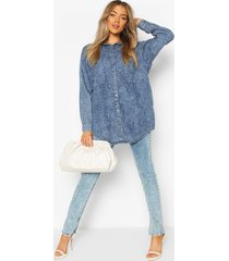 oversized acid wash denim shirt, blue