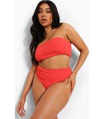 plus gekreukeld mix & match bikini broekje met hoge taille, red