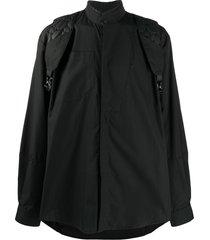 jordan luca quilted-strap band-collar shirt - black