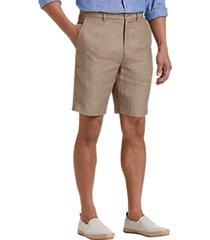 joseph abboud tan modern fit linen shorts